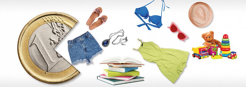 Das Bild zeigt eine Euromünze die nach Waren schnappt - nach Hotpants, Schmuck, einem Kleid, Pantoffeln, Büchern, Sonnenbrille