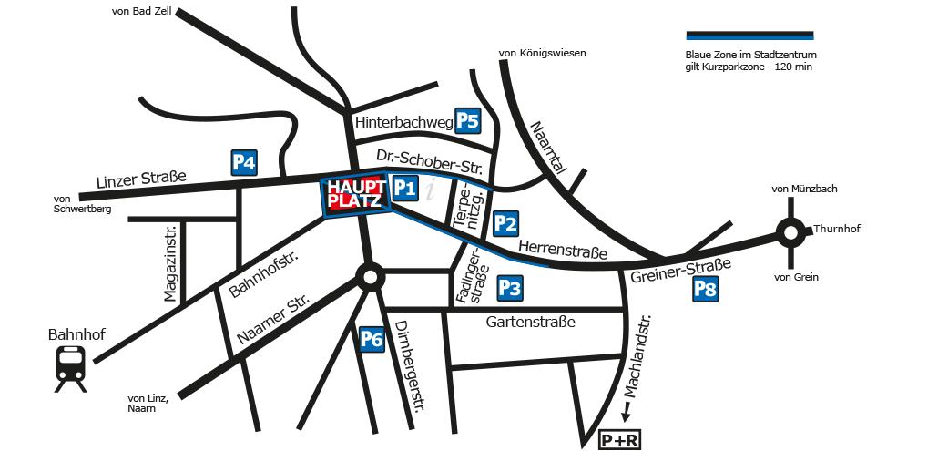 Strichskizze der Innenstadt mit Straßennamen und Parkplatzbezeichnungen in weißer Schrift auf blauem Grund