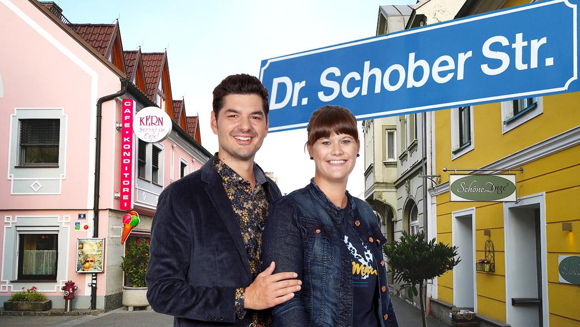 Collage_Mann und Frau im Vordergrund, Dr.-Schober-Straße in Hintergrund