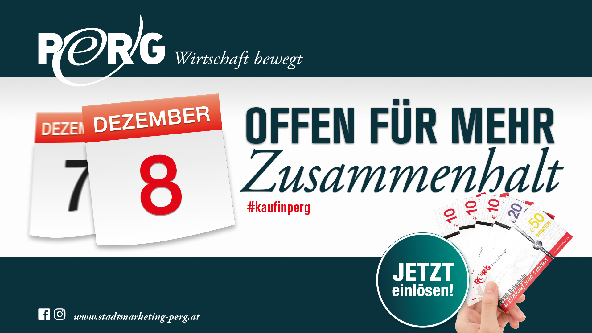Zusammenhalt in Perg - Werbesujet für Wiedereröffnung nach dem 8. Dezember
