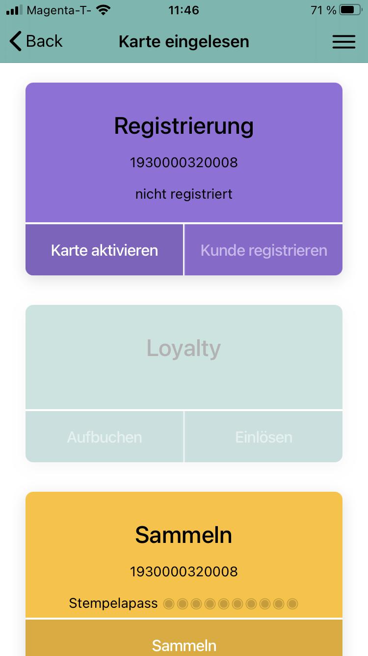 KUBID-APP - Abbildung für Karte registrieren